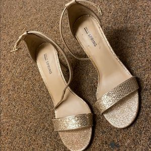 SPARKLY GOLD CALL IT SPRING HEELS